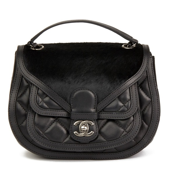 CHANEL Handbags - CHANEL BLACK QUILTED LAMBSKIN & PONY SADDLE BAG